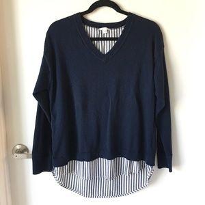 J. Jill Navy V-neck Split Back Sweater Shirt